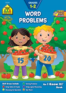 School Zone - Word Problems Workbook - Ages 6 to 8, 1st Grade, 2nd Grade, Math, Reading, Story Problems, Tables and Graphs...
