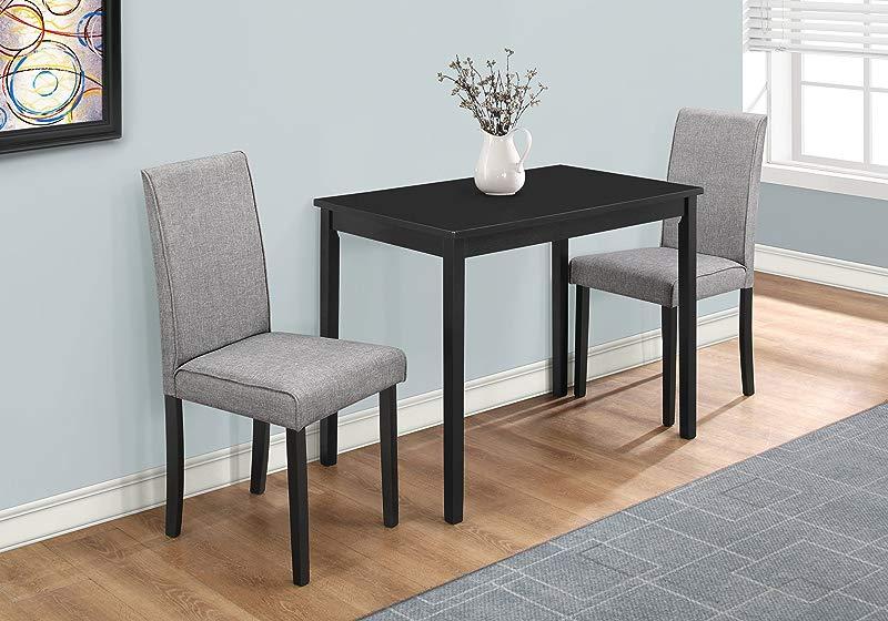 Monarch Specialties I 1016 Dining Set Set Parson Chairs Black Grey 3pcs