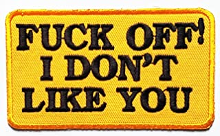 Nipitshop Patches Black Fuck You Funny Words Patch Words Joyful Motorcycle Biker Patch Embroidered Iron On Patch for Clothes Backpacks T-Shirt Jeans Skirt Vests Scarf Hat Bag