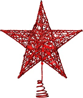 Resinta Metal Glittered Christmas Tree Topper Hallow Wire Star Topper for Christmas Tree Ornament (Red)