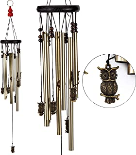 xxschy Owl Wind Chimes, 24.8 Inches Pure Hand-Made Metal Musical Wind Bells with 6 Bronze Aluminum Tubes, Mobile Wind Catcher Romantic Wind-Bell for Home, Party, Festival Decor, Garden Decoration