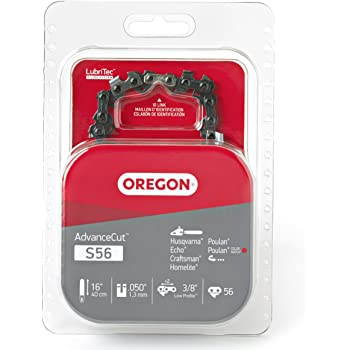 Oregon S56 AdvanceCut Chainsaw Chain for 16-Inch Bar, Fits Echo CS-400, CS-310, CS-352 and CS-370, Poulan 2150 and 3816, Makita EA4300F40B, Ryobi RY3716 and more; 56 Drive Links (Packaging may vary)