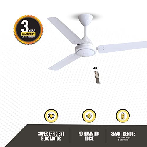 Gorilla Efficio Energy Saving 5 Star Rated 3 Blade Ceiling Fan With Remote Control and BLDC Motor, 1200mm- White