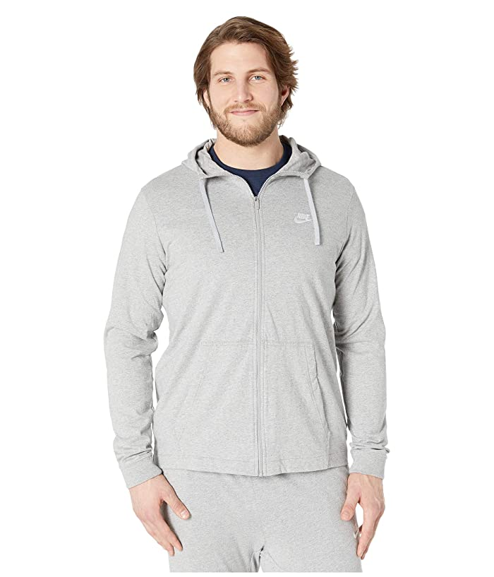 Nike Big Tall NSW Club Jersey Full Zip Hoodie (Dark Grey Heather/White) Men