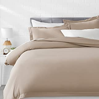 AmazonBasics Microfiber 3-Piece Quilt/Duvet/Comforter Cover Set - King, Taupe - with 2 pillow covers