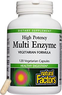 Natural Factors, High Potency Multi Enzyme Vegetarian Formula, Plant-Based Digestive Aid, 120 capsules (120 servings)