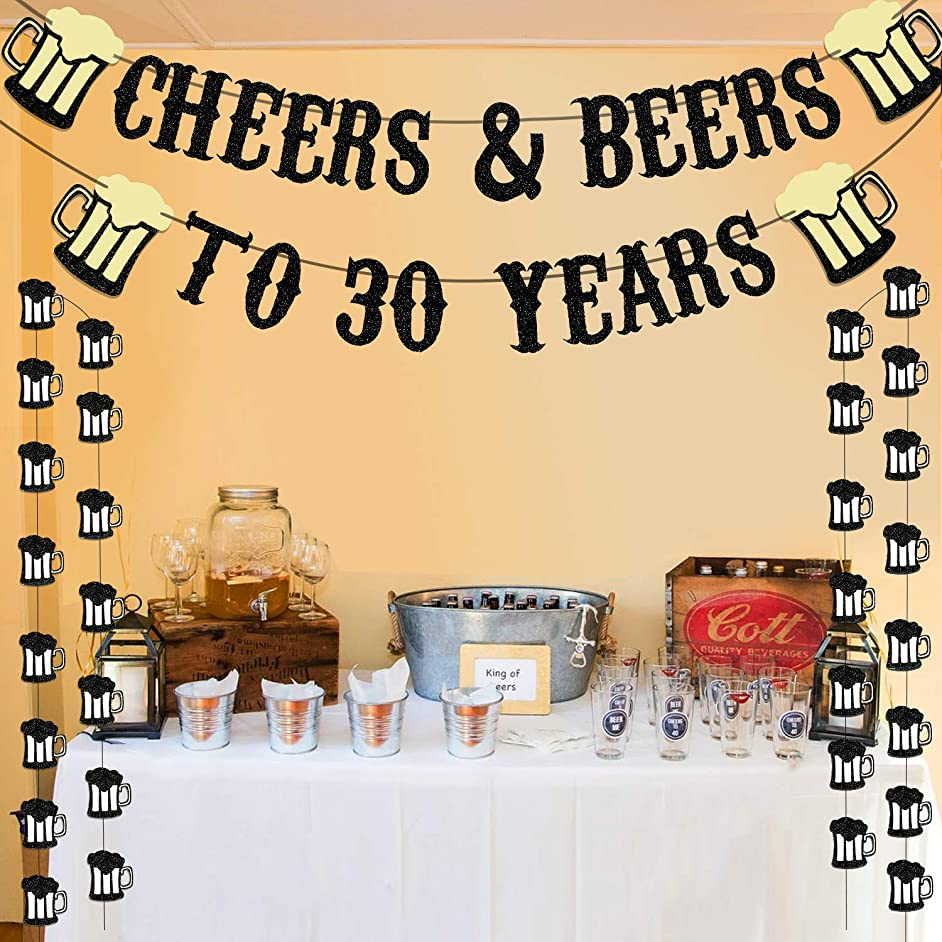 Cheers & Beers to 30 Years Real Black Glitter Banner for 30th Birthday Wedding Anniversary Party Decorations Supplies