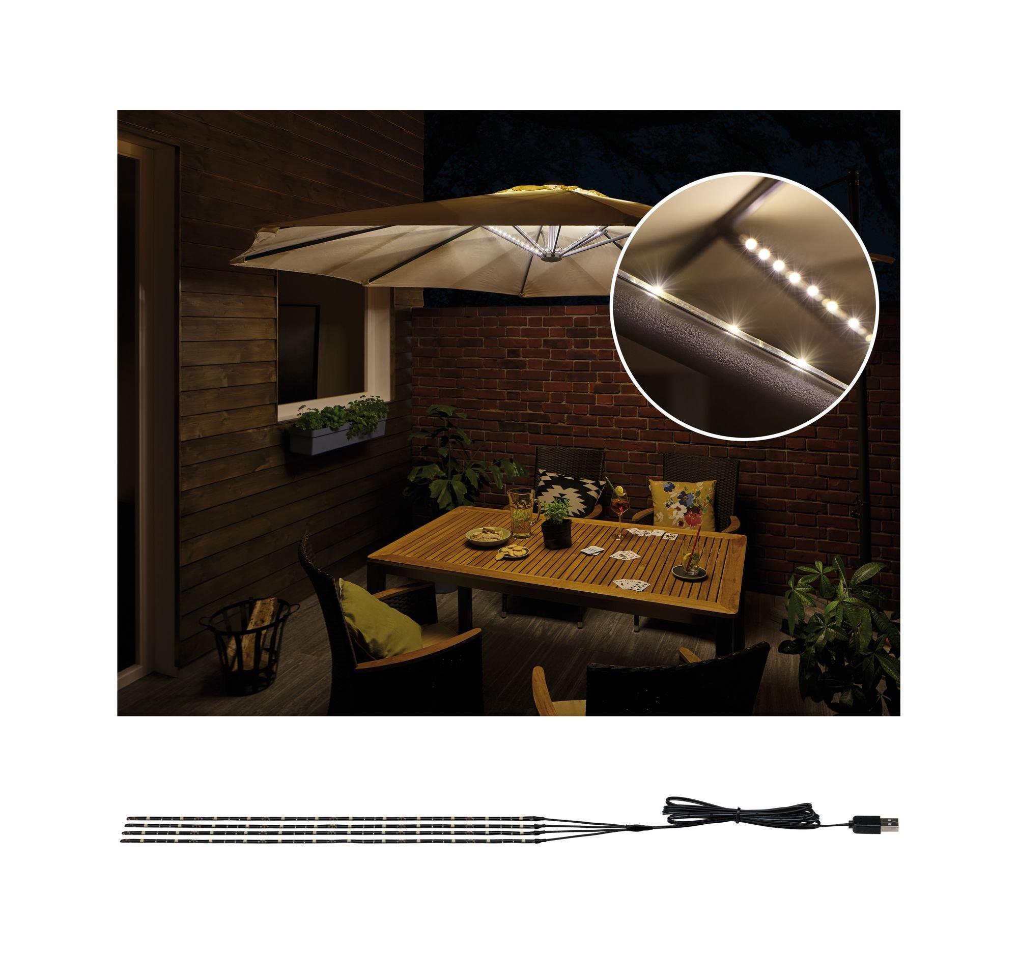Paulmann 942.08 Outdoor Mobile Lighting IP44 3000 K 4x0,4 m, Parasol, luminaria Decorativa, Tiras de luz, Strips LED 94208, 1.8 W, Negro, 40 x 0.5 x 0.3 cm: Amazon.es: Iluminación