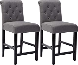 24 Inches Fabric Counter Height Bar Stools Set of 2, Upholstered BarStools with Button Tufted Backrest and Solid Wood Leg...