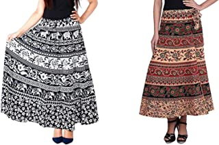 Modern Kart Women's Wrap Around Skirt Cotton Combo of 2 Skirts (Black & Beige).