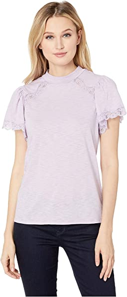 Short Sleeve Mock Neck Top w/ Lace