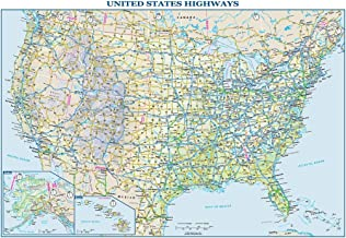 "USA Interstate Highways Wall Map - 22.5"" x 15.75"" Paper"