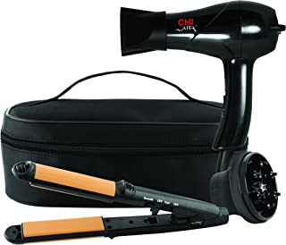 CHI Air Classic Travel 2 Piece Collection 3-in-1 Hairstyling Iron and Dryer with Zip Bag, Black