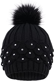 Livingston Women's Faux Fur Pompom Winter Cable Knit Beanie with Sequins