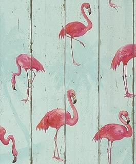 Pink Flamingo on Teal Wood Panel Wallpaper