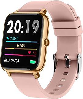 Reloj inteligente Popglory de 1,4 pulgadas con presión arterial, monitor de oxígeno en sangre, monitor de fitness con monitor de frecuencia cardíaca, reloj de fitness totalmente táctil compatible con Android e iOS para hombres y mujeres