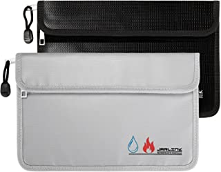 JARLINK 2 Pack Fireproof Waterproof Bags, 10.6x6.9 inches Fireproof Safe Money Storage Pouch Double Protect with Zipper, H...