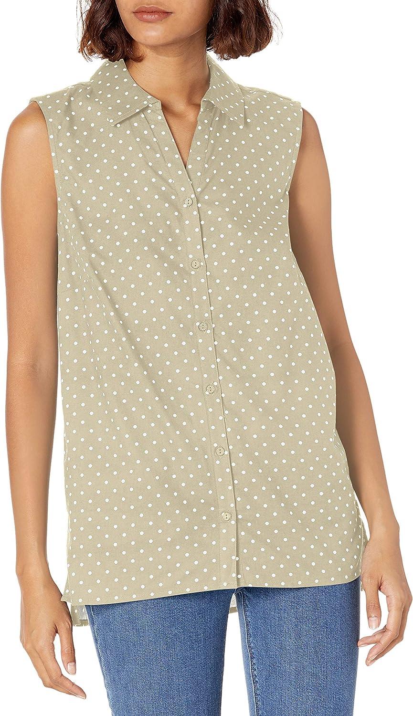 Erika Women's Janelle Sleeveless Hi-lo Button Front Camp Shirt