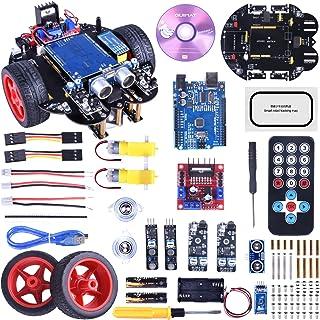 【プログラミング ロボットカー キット】Quimat Arduino 多機能教育ロボットカー 2輪 駆動 スマート ロボットカー 電子工作 プログラミング おもちゃ QS10