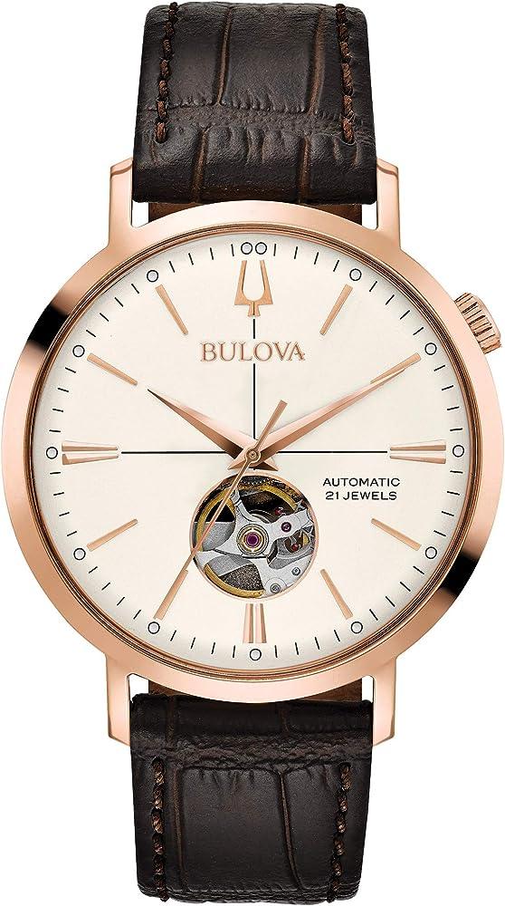 Bulova orologio da uomo automatico cassa in acciaio e cinturino in pelle 97A136