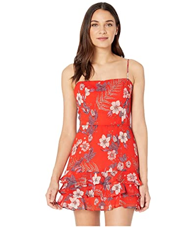 Bardot Floral Frill Dress (Red Floral) Women