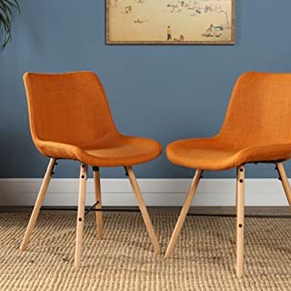 WE Furniture Mid Century Modern Upholstered Fabric and Wood Dining Room Chair Kitchen, Set of 2, Orange