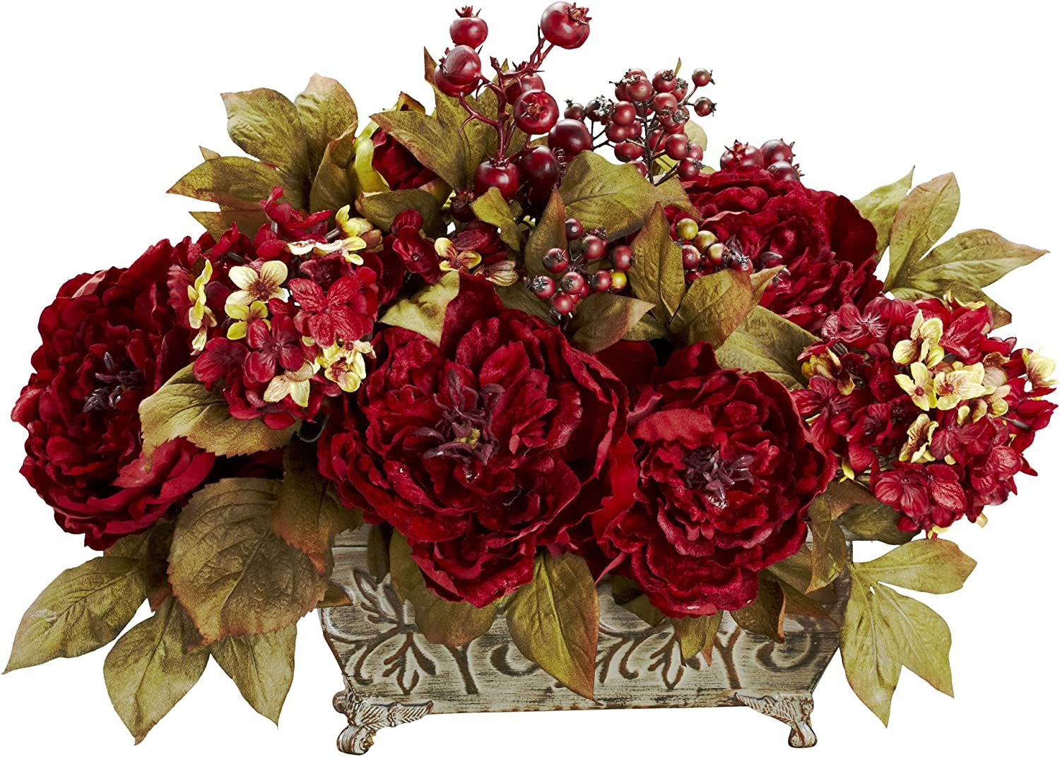 Nearly Natural 4929 Peony and Hydrangea Silk Flower Arrangement, Red