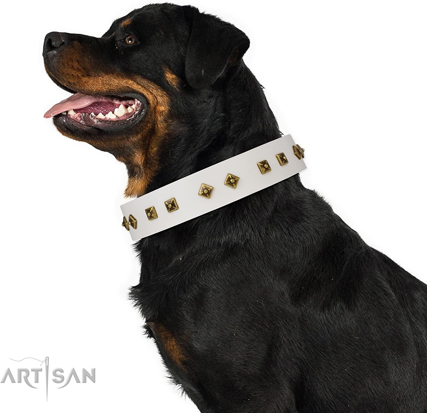 FDT Artisan 34 inch Studded White Leather Dog Collar  Dimonds & Squares  1 1 2 inch (40 mm) Wide  Gift Box Included