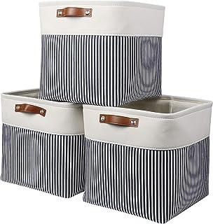 Mangata Boîtes de Rangement Cube, paniers de Rangement en Tissu pour draps, Serviettes et vêtements, Lot de 3 (Rayures Gri...
