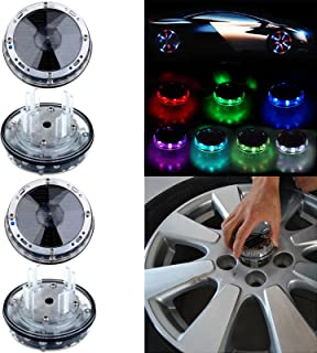 OCPTY 4 Pack Car Wheel Rim Light Waterproof Solar Energy LED Flashing Lights Car Tyre Decoration Accessories