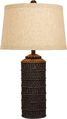 Martin Richard W-6229 Fangio Lighting's #6229 28.5 in. Tribal Marked Resin Table Lamp in a Brown Finish