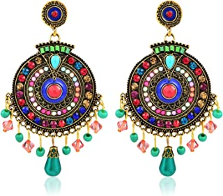 Crunchy Fashion Bollywood Style Stylish Traditional Indian Jewelry Boho Beads Earring for Women & Girls
