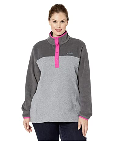 Columbia Plus Size Benton Springstm 12 Snap Pullover (Light Grey Heather/Shark) Women