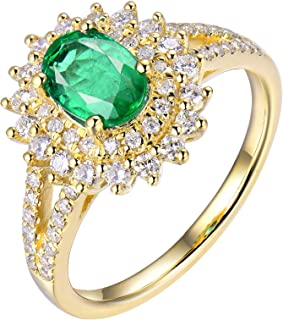 Cluster Diamond Oval Emerald Ring for Women in 18K Yellow Gold