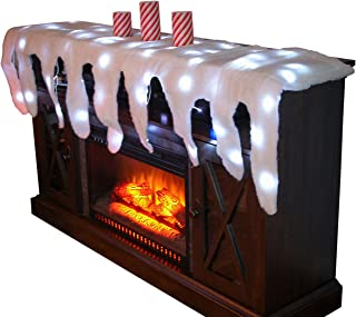 Trenton Gifts Lighted Snow Fireplace Decor for Christmas Village and Icicle Holiday Mantel Scarf
