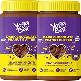 Yogabar Dark Chocolate Peanut Butter| Creamy & Chocolatey | Slow Roasted | Non-GMO Premium Peanuts | Pack of 2 |400g Each
