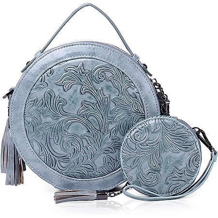 MEITRUE Runde Handtasche Damen Kreis Tasche PU Leder Elegante Frauen Crossbody Bag RetroTop Griff Schultertasche Schicke Clutch Pochette Abendtasche Mode 9584BLUE