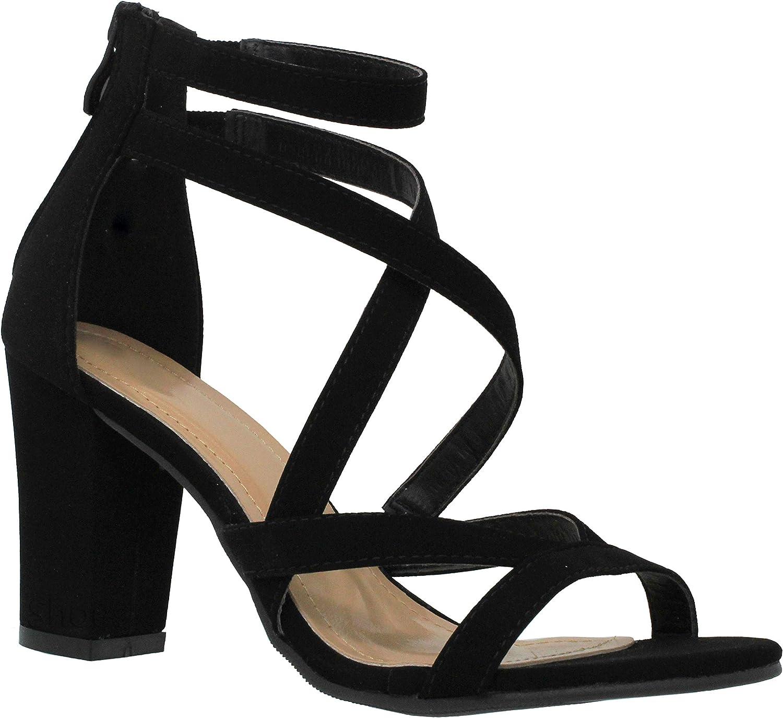 MVE skor Woherrar Strappy Strappy Strappy Open Toe Chunky Heel -Comfey Stack Heeled Sandal -Sexy Party Dress Sandal  stor rabatt