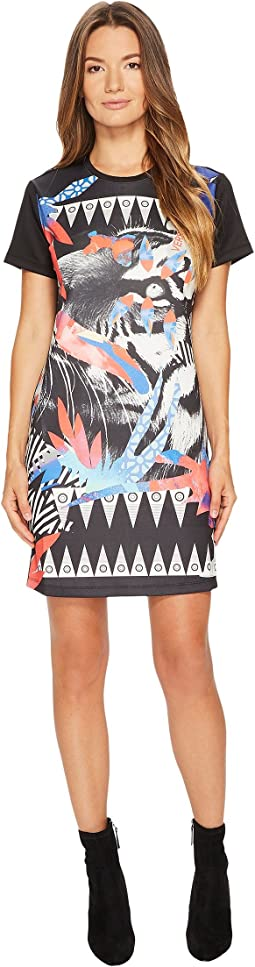 Versace Jeans - Neoprene Crew Neck Tiger Print Dress