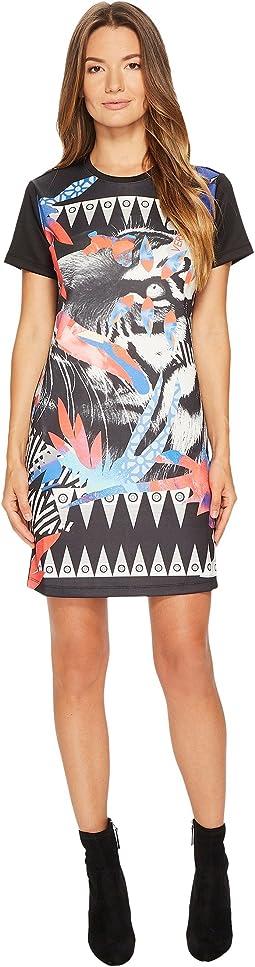 Versace Jeans - Neoprene Crew Neck Tiger Print Dress