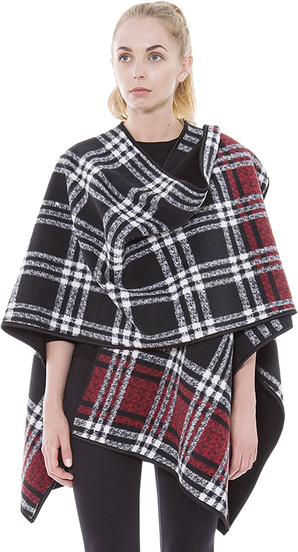 BYOS Women Winter Reversible Plaid to Black Warm Fleece Open Front Poncho Ruana Wrap Travel Blanket (Black Red Plaid)