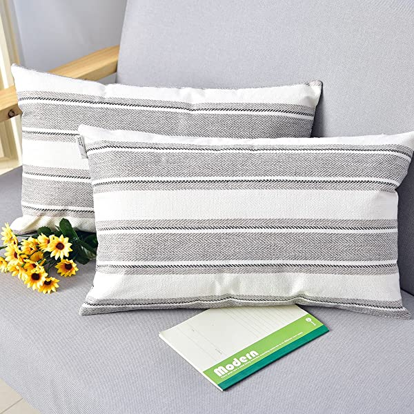 NATUS WEAVER 2 Pack Multi Color Stripe Pillow Cases Soft Linen Square Decorative Throw Cushion Cover Pillowcase With Hidden Zipper For Sofa 12 X 20