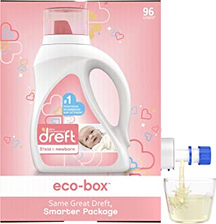 Dreft Stage 1: Newborn, Ultra Concentrated Liquid Laundry Baby Detergent eco-Box, HE Compatible, 105 fl oz, 96 Loads