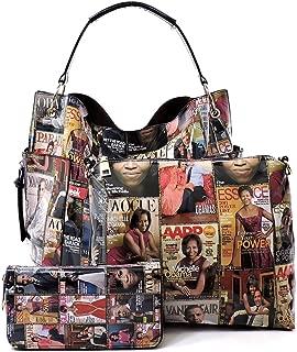 Magazine Cover Collage Michelle Obama Printed Square Hobo bag + Crossbody purse + Wallet 3pcs Set