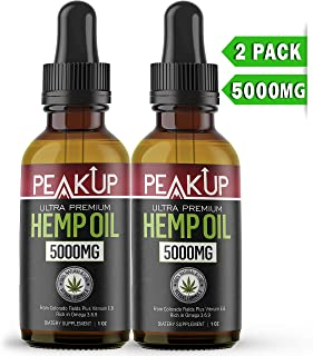 Hemp Oil - Hemp Oil for Pain Relief -2 Pack 5000MG- Pure Organic Hemp Oil for Sleep Skin Hair Calming Boost Memory - Natural Hemp Oil Drops Support Good Mood - Rich in Omega 3 6 9