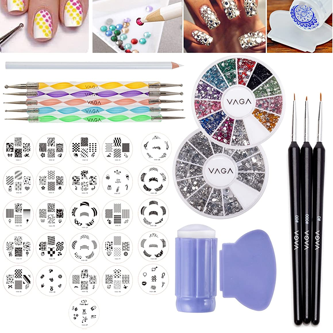 Nail Art Designs Set with 26 Stamping Plates, Wheels of 1200 Gemstones / Crystals / Gems Each, Stamper / Scraper Dotters / Dotting Tools, Nails Brushes and Rhinestones Decorations Picker Pencil