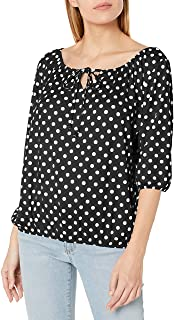 Star Vixen Women's 3/4 Sleeve Peasant Top with Keyhole Tie and Elastic Bottom Hem