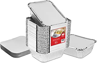 """50 Pack Disposable Takeout Containers with Foil Lids – 1 Lb Capacity Aluminum Foil To Go Food Containers – Secure Lid to Lock in Freshness – Eco Friendly Recyclable Aluminum Pans – 4"""" Inch Drip Pans"""