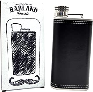 Harland 8 oz Wide Mouth Hip Flask | Soft Touch PU Leather 18/8 304 Stainless Steel Highest Food Grade | Groomsmen Gift | Classic Retro Style