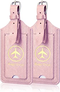 [2 Pack]Luggage Tags, ACdream Leather Case Luggage Bag Tags Travel Tags 2 Pieces Set,